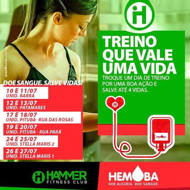 """Hammer Fitness Club e Hemoba dão início a Campanha """"Treino que vale uma vida"""" nesta segunda (10/07)"""
