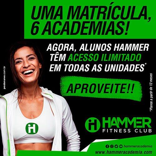 Alunos Hammer Fitness Club terão acesso ilimitado a todas as unidades da rede