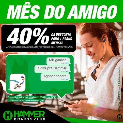 Hammer Fitness Club oferece 40% de desconto para amigos dos seus alunos